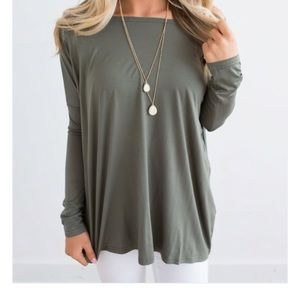 Long Sleeve Olive Solid Knit